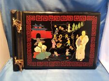 Vintage Lacquer Hand Painted Wood Hinged Photo Album Korea