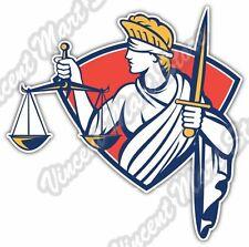 "Blind Lady Justice Law Criminal Attorney Car Bumper Vinyl Sticker Decal 4""X5"""