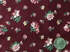 "Vintage Pink Beige Flowers Jade Leaves on Cranberry Cotton Quilt Fabric 42"" BTHY"