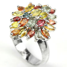 Sterling Silver 925 Genuine Multi Colour Sapphire Cluster Ring R1/2 US 9.25