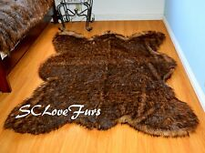 5' x 7' Grizzly Bear skin Faux Fur Area Rug Plush Lodge Cabin Accents Decors