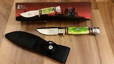 Light Green Fixed Blade Steel Warrior Bone Handle Hunting Knife Dagger Bowie