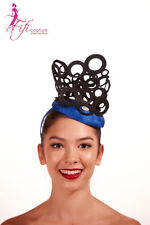 Blue Fascinator with Black Crown Circle Top - Made in Aussie - BNWT