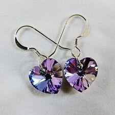 925 Sterling Silver Dangly Earrings w Swarovski Elements Crystal VL Purple Heart