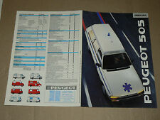 Prospectus PEUGEOT 505 Ambulance  1989    brochure  prospekt catalogue car
