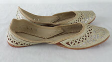 Ivory Silver Bridal Flats Leather Indian Designer Wedding Shoes Sz US 7 EU 38