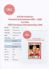 Erik Andersen Dinamarca Int 1995-1996 Original Firmada a Mano Pegatina Panini (Sin usar)
