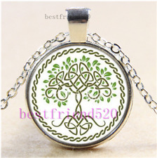 Celtic tree of life Photo Cabochon Glass Tibet Silver Chain Pendant Necklace#1I0