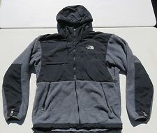 Mens The NORTH FACE Gray Hooded Denali Polartec Zip Fleece Sweater Jacket Medium