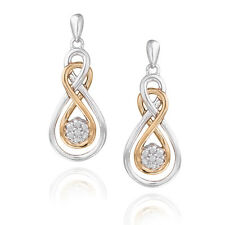 925 Silver & Rose Gold Tone Diamond Accent Double Infinity Flower Earrings