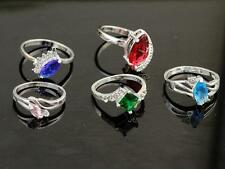 Wholesale 5PCS LF Plating 925 Silver Mixed Cubic Zirconia Rings Sz.6-9