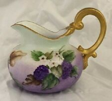 1965 Hand Painted Blackberry Ivy Flower Gold Accented Antique Pitcher Signed