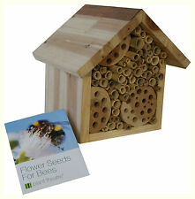 Wooden Bee Hotel & Flower Seeds - Insect House Nest Home by Plant Theatre Gift