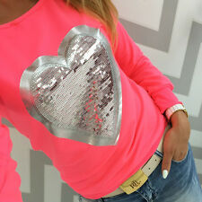 Womens Ladies Sequin Heart Long Sleeve Crew Neck T-Shirt Top Casual Loose Blouse