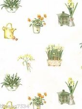 Country Floral Daffodil Plate Watering Can Coordinating Wallpaper Roll KC18567L