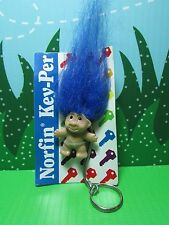 "TROLL KEY CHAIN - 2"" DAM Norfin Troll Doll - NEW STORE STOCK -Blue"