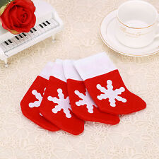 1 Pair Christmas Decoration Santa Stocking Kids Gift Candy Bag Snowflake Hanger
