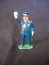 Old Vtg Lead Police Officer In Uniform W/ Right Hand In Air Train Garden Figure
