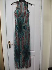 NEW LOOK TEAL GREEN PINK ORIENTAL PRINT STRETCHY EMBELLISHED STRAP MAXI DRESS -8