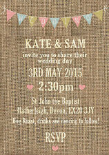 50 Burlap Bunting Hessian Country Wedding Invitations!The Invite Shack