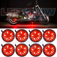 8PC LEDLOW RED POD LED MOTORCYCLE ACCENT UNDERGLOW NEON LIGHTING KIT w SWITCH