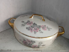 EPIAG Czechoslovakia Covered Vegetable Bowl Casserole Pink Flowers Gray