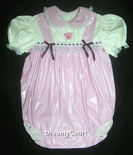 ADULT SISSY BABY GIRL ONESIE BABY PINK PVC ROMPER NIGHT SLEEPER 01
