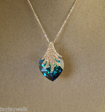 SWAROVSKI  BERMUDA BLUE CRYSTAL ELEMENTS HEART WITH SPRAY NECKLACE