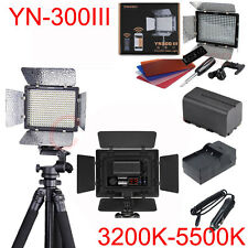 YN-300 III LED Video Light 3200K-5500K for Canon Nikon DSLR + Battery & Charger