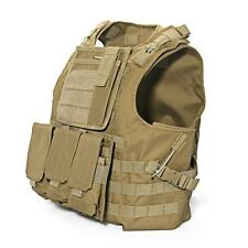 Combat Molle Assault Plate Military Army Airsoft Tactical SWAT Vest Nylon Brown