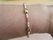 9ct Rose Gold Plated Sterling Silver Diamond Cut Bead Bracelet Brand New