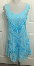 HOLY CLOTHING M light blue embroidered boho rayon dress