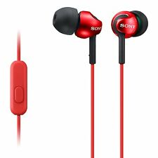 Sony MDR-EX110 In-ear Headphones with Smartphone Control and Mic - Red