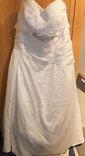 WEDDING DRESS PLUS SIZE 22W DAVIDS BRIDAL WITH BLING SASH SATIN ROUCHING TRAIN