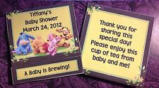 12 BABY SHOWER WINNIE THE POOH TEA BAG WRAPPER FAVORS TEA BAG INCLUDED