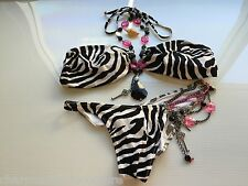 Beach Bunny Stop & Stare Zebra Print Jeweled Chain Key Angel Bikini Size Large