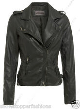 Size 8 10 12 14 16 NEW Women's BIKER JACKET PU FAUX LEATHER Ladies Black Brown