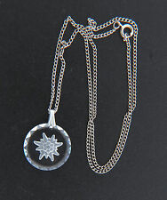 Etched Crystal Edelweiss Pendant Necklace Chain