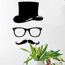 Wall Decal Barber Shop Mustache Hat Glass Decal Boy Salon Bedroom Decor Stickers