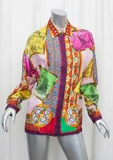 GIANNI VERSACE COUTURE Womens VINTAGE Silk Multicolor BAROCCO Blouse Shirt Top L