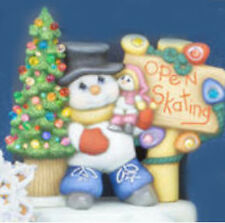 """Ceramic Bisque Ready to Paint Snowman """"Open Skating"""" electric included"""