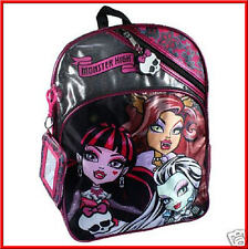 MONSTER HIGH BACKPACK + WRISTLET - The Girls LARGE Book Bag - BLACK & Pink *NEW*