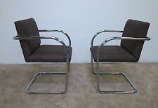 Pair of MCM Eames Era Chrome Tubular Arm Chairs Ludwig Mies Van Der Rohe Style