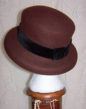 Laura Ashley Vintage auburn 100% wool felt formal hat velvet ribbon one size