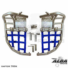 Yamaha Raptor 660  Nerf Bars  Pro Peg Heel Gaurds  Alba Racing  Silver/Blue