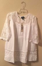 Womens White Lace Boho Tunic Top Shirt Blouse Summer Casual Cowgirl Loose Top L