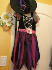 UK DESIGN CUTE LITTLE WITCH DRESS / COSTUME 5/6 WITH MATCHING HAT & BLACK PLUSH