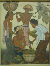 Vtg Bali Painting Intricate Folk Art Tropical Farmers Market Painting Signed