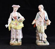 Antique Pair Dresden Carl Thieme DRESDEN Figurines Hand Painted Courting Couple