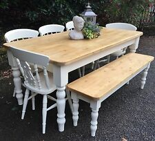 6ft Pine Farmhouse Dining table, Chairs and Bench Handmade Farrow & Ball